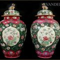 Pair of Famille Rose Jars with Covers. China, Qianlong period (1736-1795)