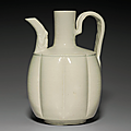 A glazed white ware lobed ewer, liao dynasty, 11th century