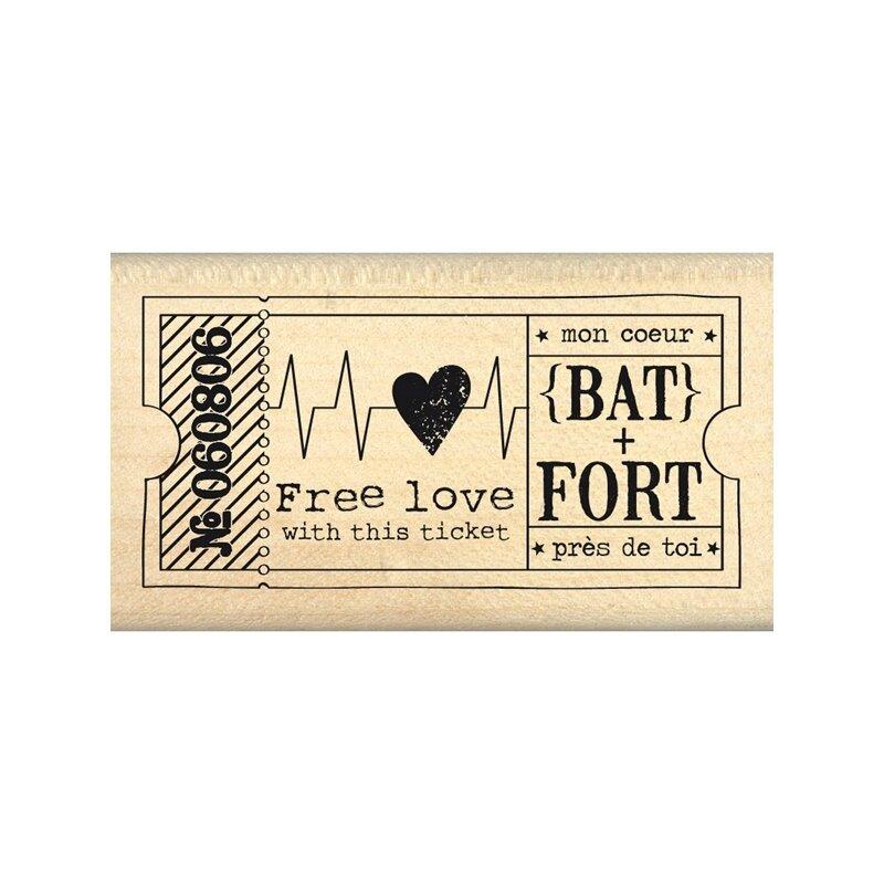 tampon-bois-florileges-design-ticket-free-love