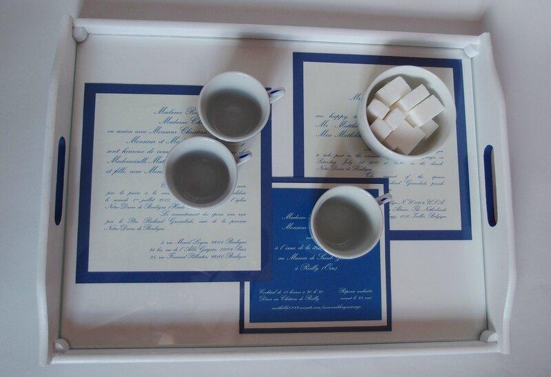 jolis plateaux, 30x40, bleu, mariage