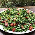 Salade toute verte, haricots et petits pois et plein d'autres choses