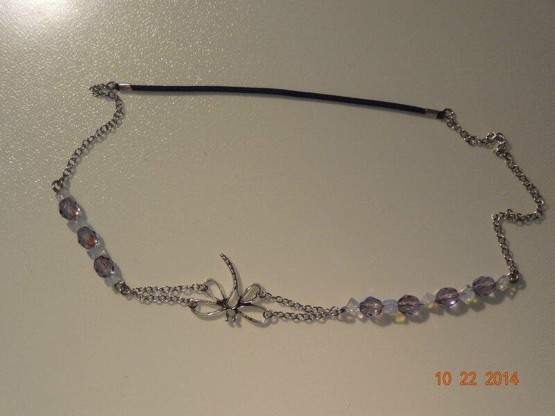 bijou de tête libellule, perles cristal de bohème