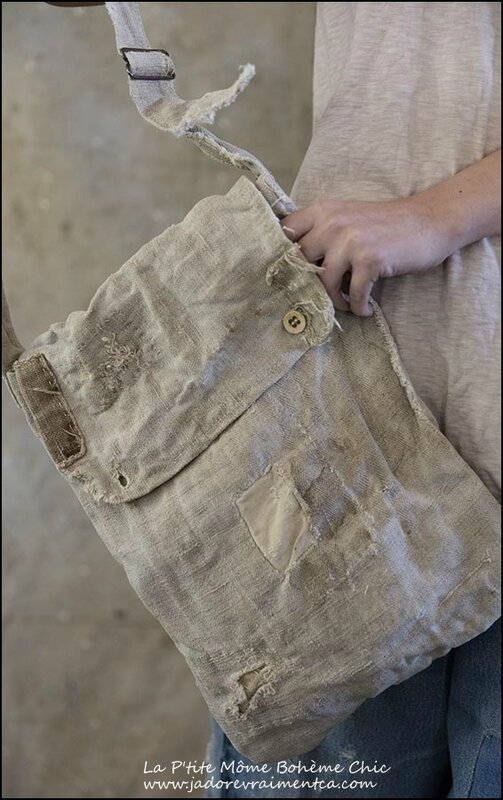 Bag-Shoulder Bag 001 #1 Antique grain sack