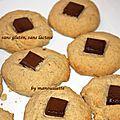 Cookies aux cacahuètes et chocolat sans gluten, sans lactose