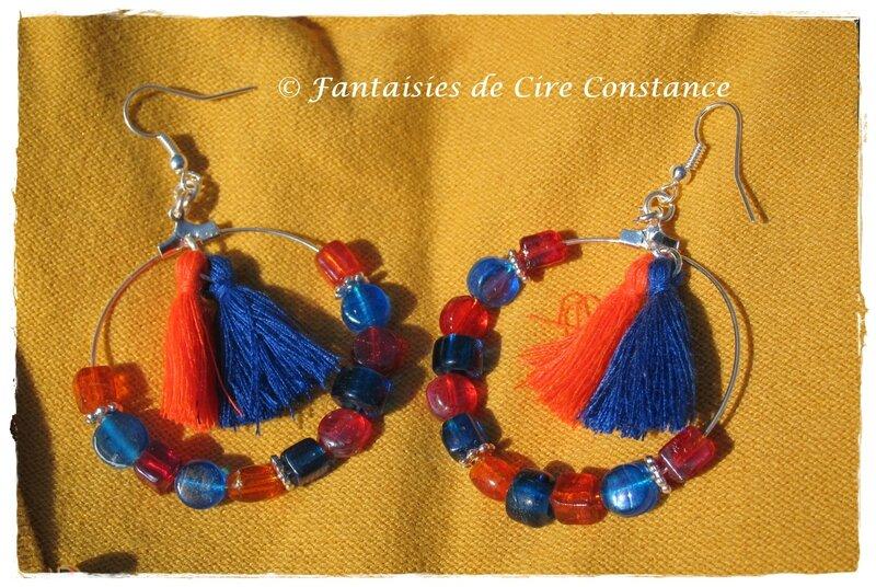 BO Créole pompon orange bleu roi perles-1