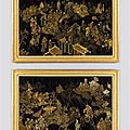 A pair of late 18th century Chinese export polychrome and gilt lacquer panels, ca 1770
