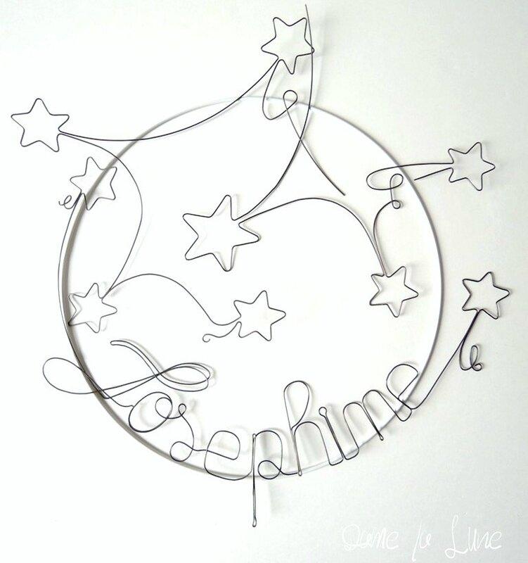 fil de fer_mobile-étoiles_dame la lune création_prénom_création personnalisée