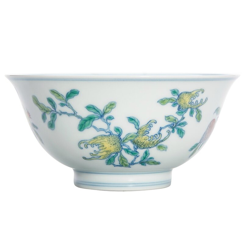Chinese Wucai Glazed Porcelain Bowl, Yongzheng Six-Character Mark and of the Period 1