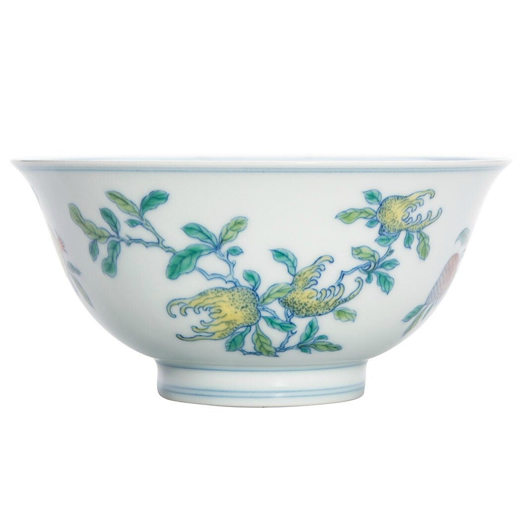 Chinese Wucai Glazed Porcelain Bowl, Yongzheng Six-Character Mark and of the Period