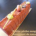 Bûche pêche sanguine craquant de caramel