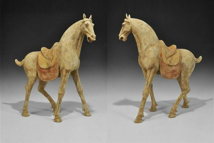 Chinese Tang Dynasty, 618-906 AD . An exceptional, world class, very large ceramic horse, 61 cm (24″).