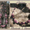 Collier rhodonite et hématite