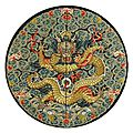 A silk brocade imperial dragon roundel for a princess, jiaqing period