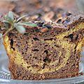 Cake marbré chocolat et courge.