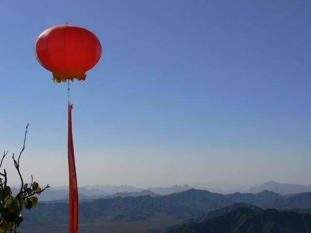 Vue d'un ballon sur la Muraille de Chine