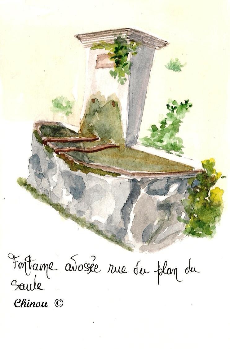 Mormoiron : fontaine adossée rue du Plan du Saule