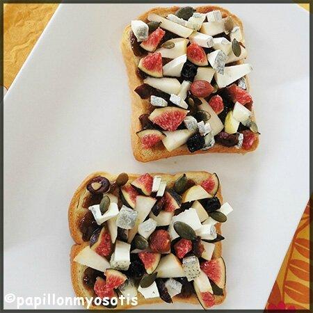 Tartines à la pomme, figue et Valençay_1