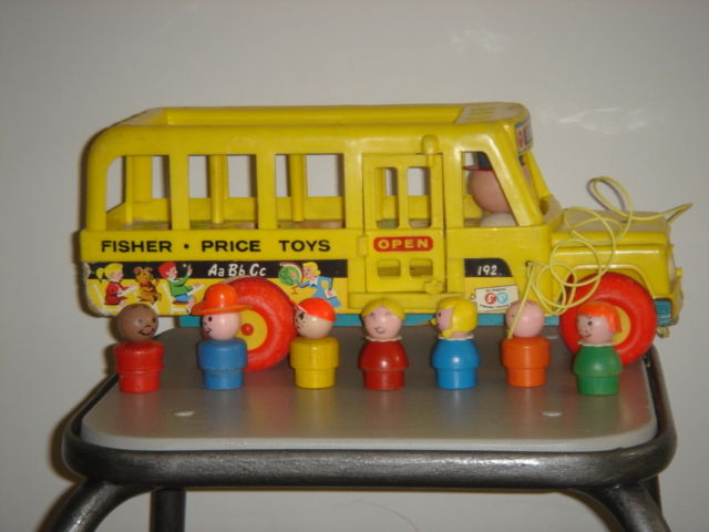 bus fisher price avec ses personnages en bois a vendre photo de jouets vintage vendre le. Black Bedroom Furniture Sets. Home Design Ideas