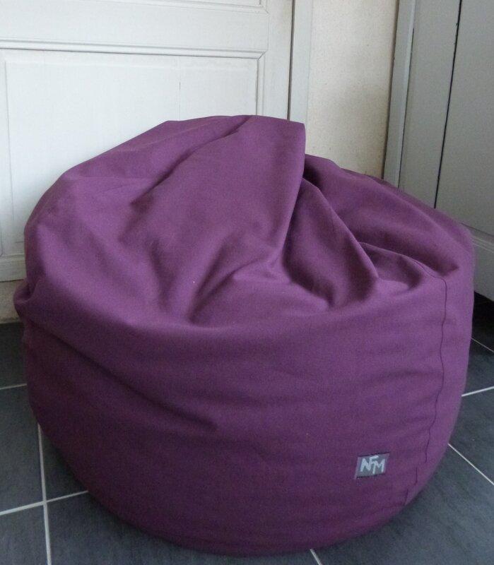 housse de pouf poire et coussin assorti nfm nath fait main. Black Bedroom Furniture Sets. Home Design Ideas