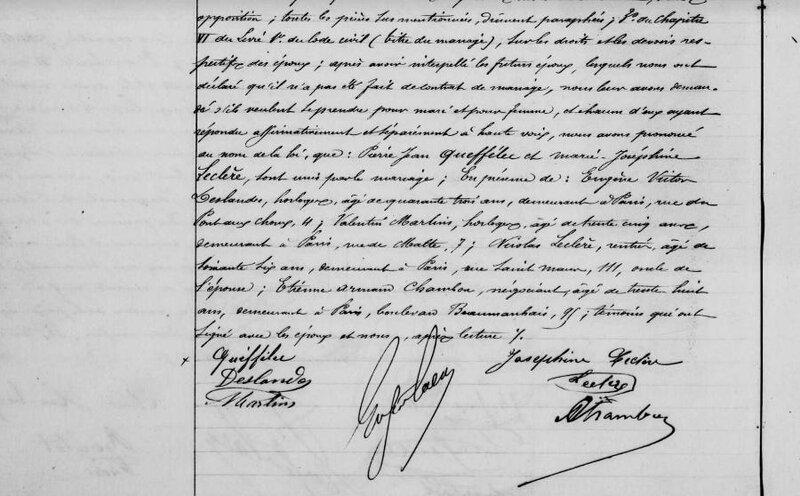 Mariage 7 novembre 1885 à Paris 3ème 2 de 2