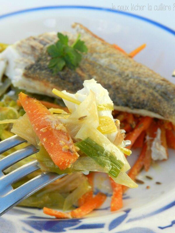 Filet de poisson et julienne de carottes et poireaux 3