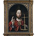 Master of the mansi-magdalena (workshop, active antwerp c.1510/1525). christ as salvator mundi