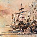 Port de bretagneii,huile peinture au couteau sur toile 25x30cm