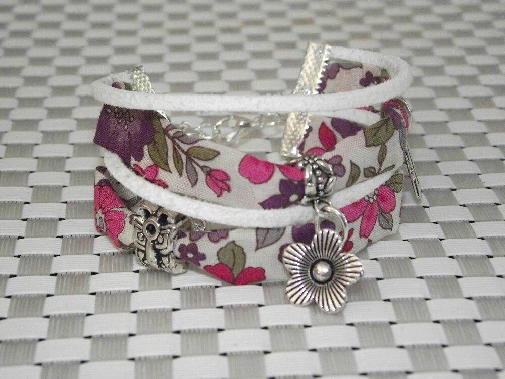 J 39 aime le liberty la cr ation du jour bracelet liberty violet rose blanc les toiles de - Tissu pour bracelet liberty ...