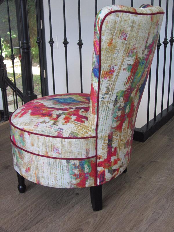 chauffeuse retapissée tissu Prestiious textiles