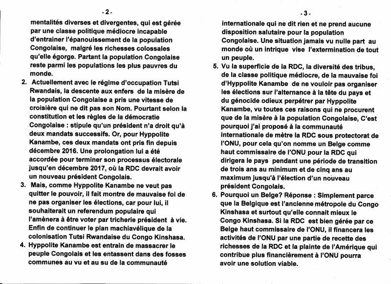 NOMMER UN BELGE COMME HAUT COMMISSAIRE DE L'ONU POUR LA RDC b