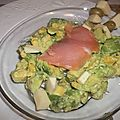 Salade d'avocat et son filet de saumon fumé