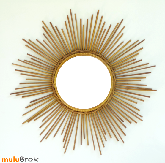 D co vintage grand miroir soleil en rotin alice for Grand miroir soleil