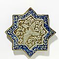 Star-shaped tile, iran (kashan), early 14th century