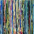 Forêt #28, 2011, acrylique, collage et coulures sur papier, 45 x 32 cm