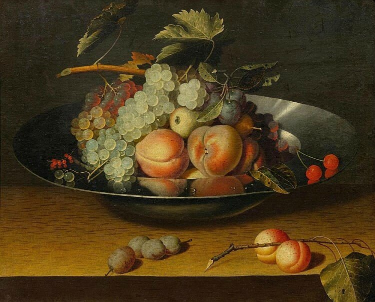 Circle of Louise Moillon (c.1610 Paris 1696), A still life with peaches and grapes, in a bowl, on a table.