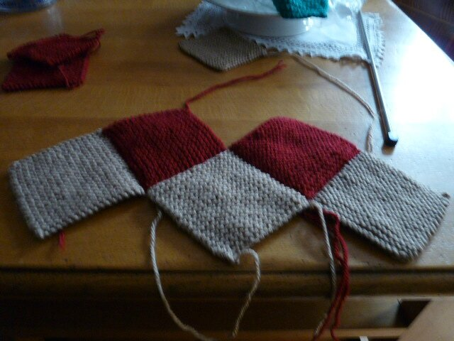 chaussons adulte tricot carres
