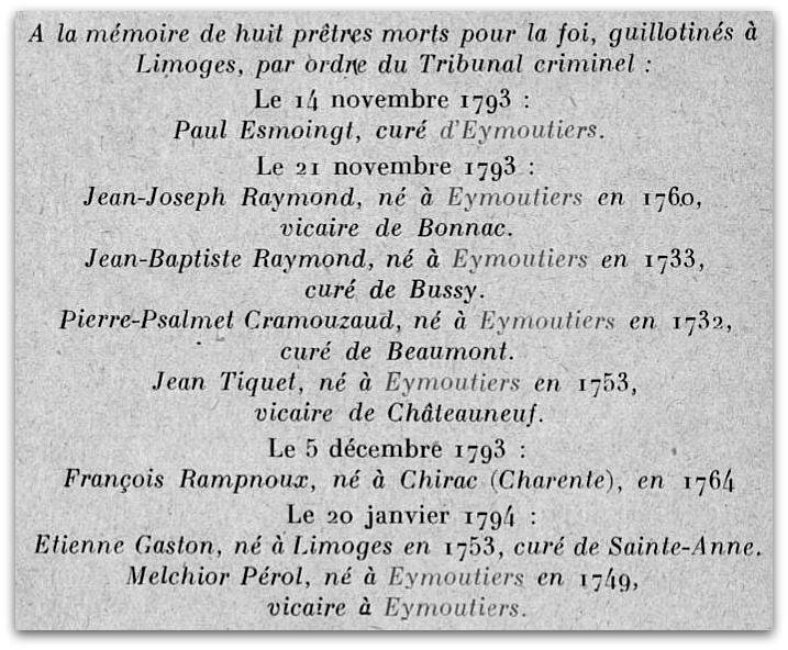 Eymoutiers plaque église z