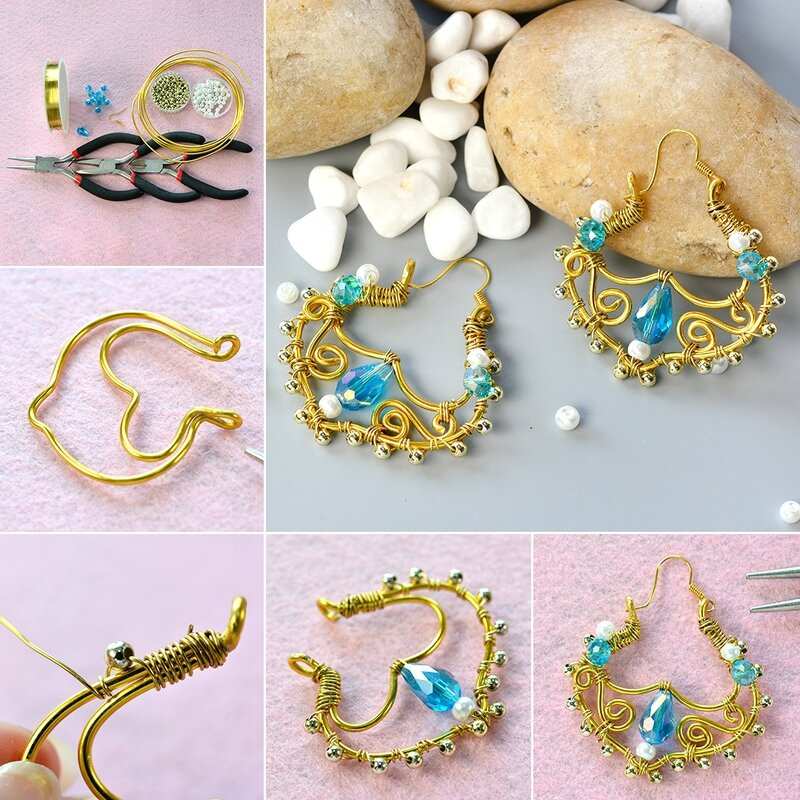 1080-PandaHall-Tutorial-on-How-to-Make-Vintage-Glass-Bead-Wing-Dangle-Earrings