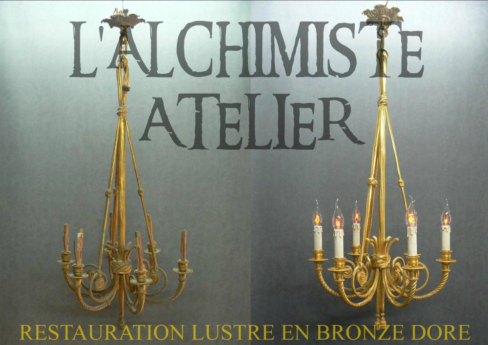 restauration et nettoyage d 39 un lustre en bronze dor l 39 alchimiste atelier restauration de. Black Bedroom Furniture Sets. Home Design Ideas