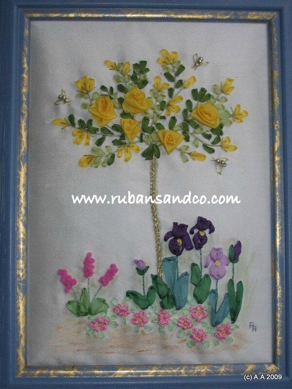 rosier tige jaune broderie au ruban de soie