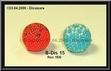 B-Dis 15 mm orange & turquoise face © B