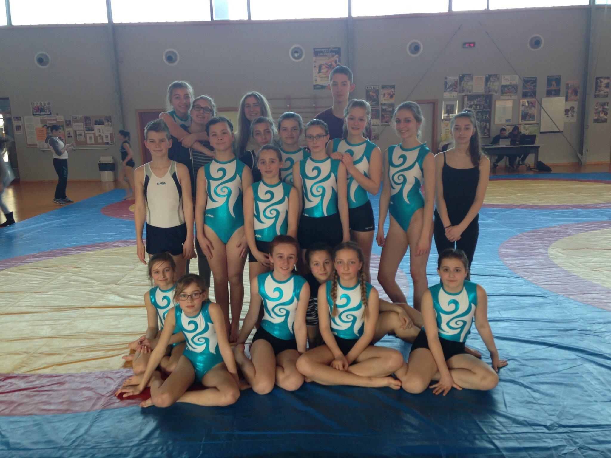 L'équipe 1 de gymnastique acrobatique championne du Bas-Rhin.