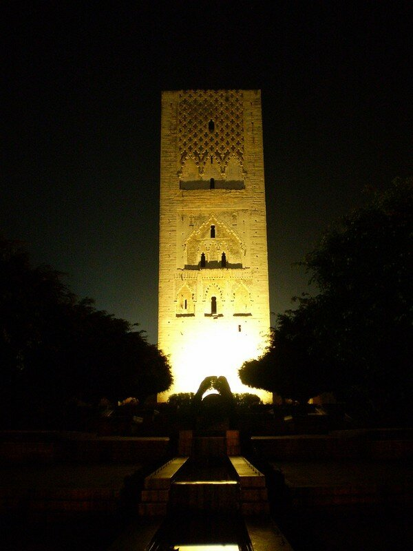 Hssan Tower by night