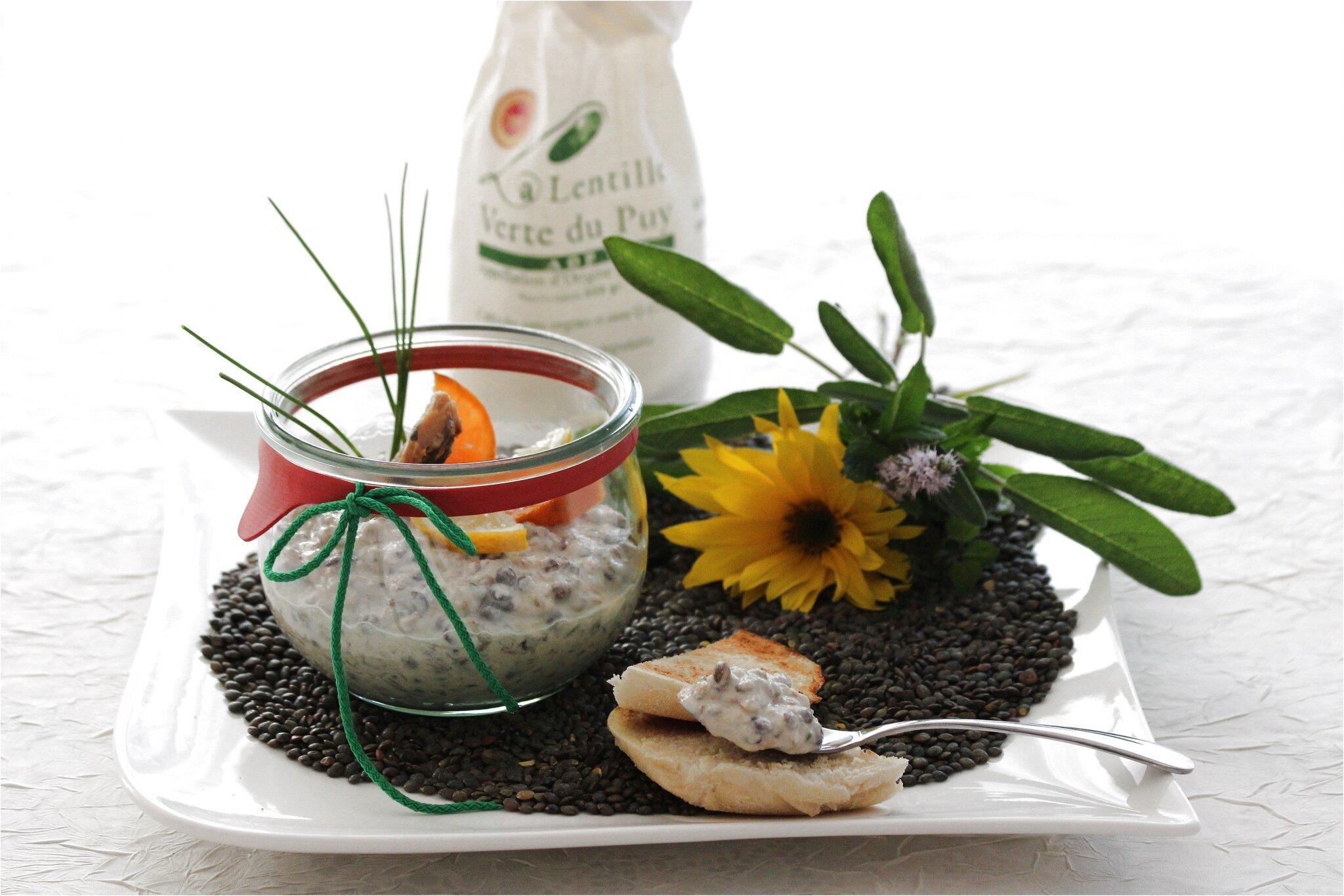 Rillettes de lentilles aux sardines, citron et mandarine, ciboulette pour un apéritif à nul autre pareil....