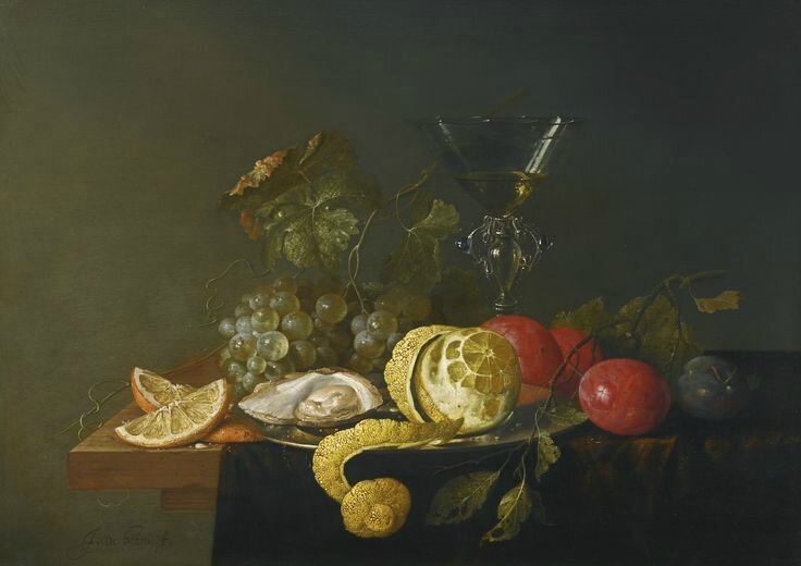 Jan Davidsz. de Heem, Still life with a peeled lemon, oyster and a silver plate with grapes, plums and a façon-de-venise glass..