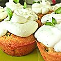 Recette de cupcakes salés tomate séchées, parmesan et basilic
