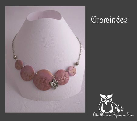 Graminées rose or collier lentille support