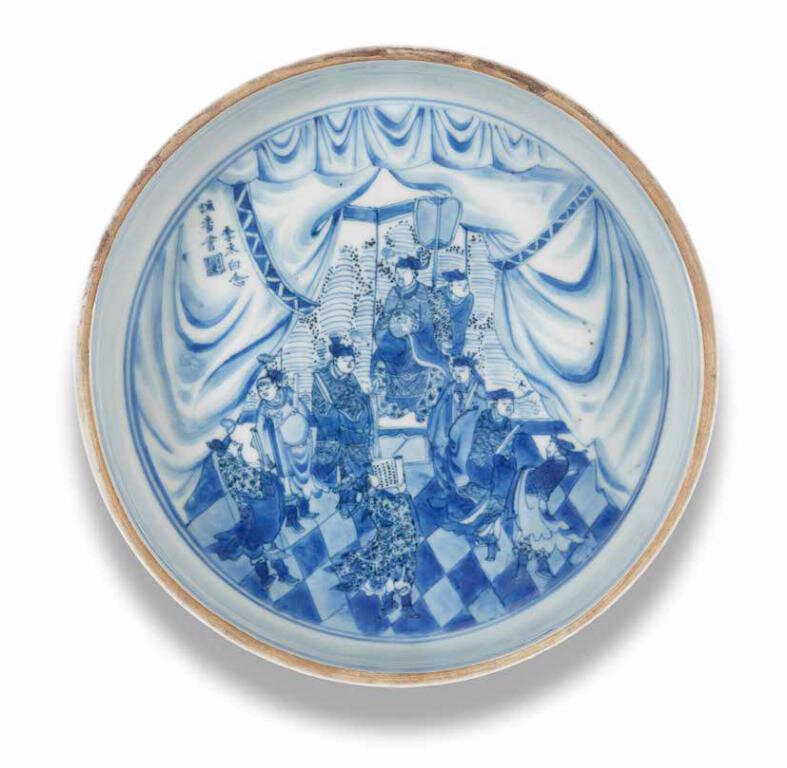 A rare blue and white 'Li Bai' brush washer, Chongzhen period (1627-1644)