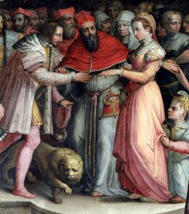 Le mariage de Catherine de Médicis peint par Vasari vers 1555