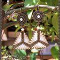 BO triangles crème blanc bronze